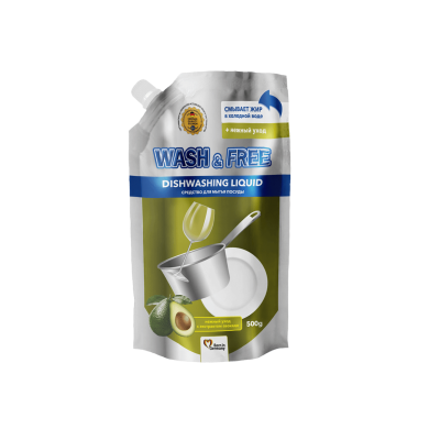 Засіб для миття посуду 500г WASH $ FREE ніжний догляд з екстр.авокадо(Doypack)