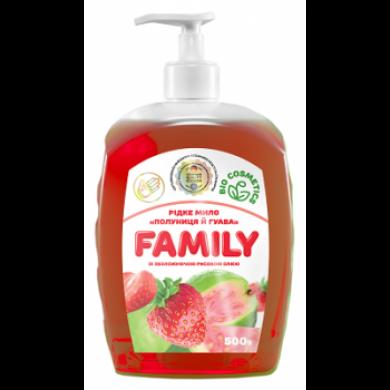 """Рідке мило """"Полуниця й гуава зі зволожуючою рисовою олією"""" 1000 г FamilY"""