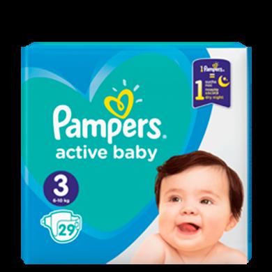 юПідгузники дит.PAMPERS Active Baby Midi(6-10кг) cеред.уп.29