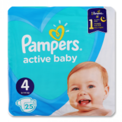 Підгузники дит.PAMPERS Active Baby Maxi(9-14кг) серед.уп.25