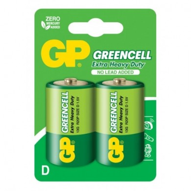 Батарейка GP 13G-U2 сольова,D,R20,зелена блістер*2