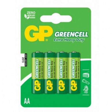 Батарейка GP 15G-U4 сольова,R6, АА,зелена блістер*4