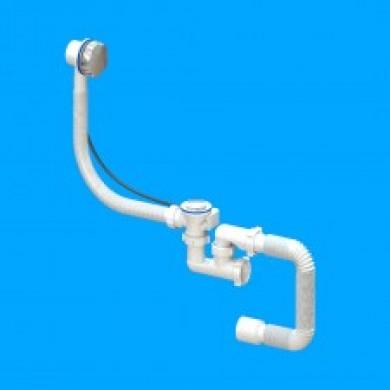 """Сифон для ванни і глиб.душ.кабін (нерж11/2""""з перел,гнучк трубою 40*50 регулюючий)"""