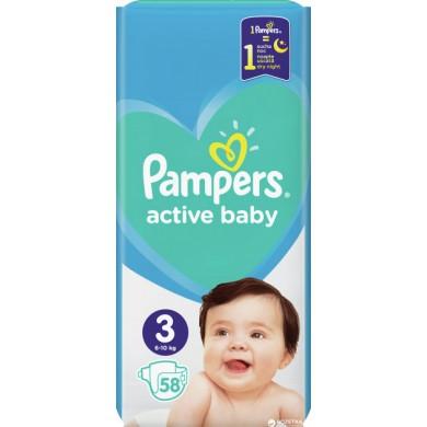 Підгузники дит.PAMPERS Active Baby Midi(6-10кг) економ.уп.58*