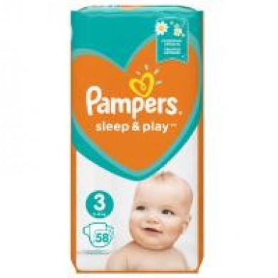 юПідгузники дит.PAMPERS Sleep & Play Midi(6-10кг) уп.58
