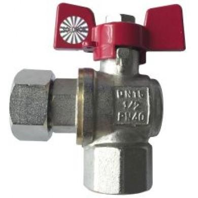 """Кран кульовий 1/2"""" ВВ кутовий для підключення газового котла з нак. гайкою Solomon 160401"""