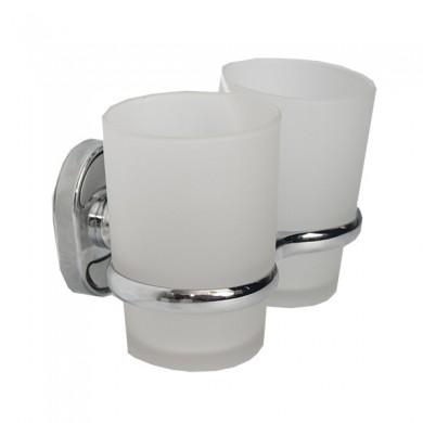 Склянка настінна подвійна з тримачем щіток WAL-TUM2-2Z (матове скло) 10шт/уп