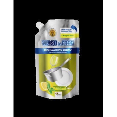 """Засіб для миття посуду 500г WASH $ FREE лимон та м""""ята(Doypack)"""